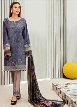 Iznik Embroidered Lawn Unstitched 3 Piece Suit IZ19LF 03 ORION BLUE - Festive Collection