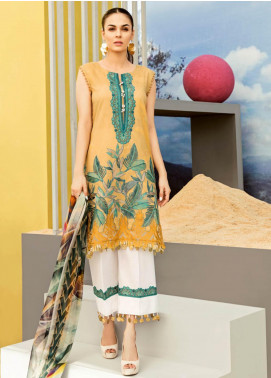 Iznik Embroidered Lawn Unstitched 3 Piece Suit IZ19LF 08 ANTIQUE GOLD - Festive Collection