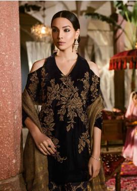 Iznik Embroidered Velvet Unstitched 3 Piece Suit IZ18V 9 PITCH BLACK - Festive Velvet Collection
