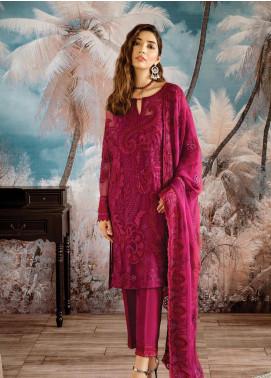 Iznik Embroidered Chiffon Unstitched 3 Piece Suit IZ19OC 07 CARMINE - Luxury Collection