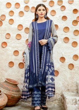 Iznik Embroidered Linen Unstitched 3 Piece Suit IZ19W 02 NAVY CHARM - Winter Collection
