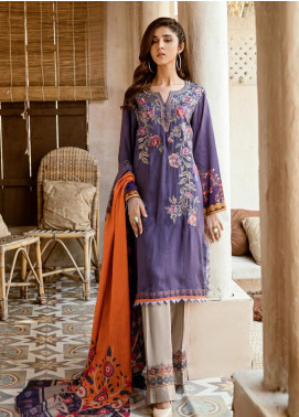 Iznik Embroidered Linen Unstitched 3 Piece Suit IZ19W 07 LAVENDER AVERY - Winter Collection