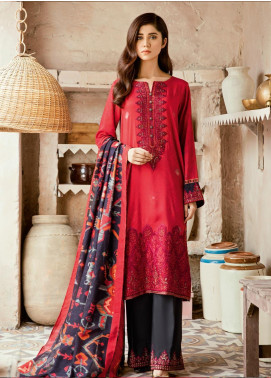 Iznik Embroidered Linen Unstitched 3 Piece Suit IZ19W 08 SCARLET GLOOM - Winter Collection