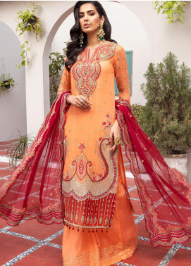 Jaan-e-Adaa by Azal Fashions Embroidered Chiffon Unstitched 3 Piece Suit AF20JA 02 Amber - Festive Collection