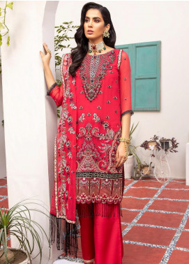 Jaan-e-Adaa by Azal Fashions Embroidered Chiffon Unstitched 3 Piece Suit AF20JA 03 Carnelian - Festive Collection