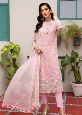 Jaan-e-Adaa by Azal Fashions Embroidered Chiffon Unstitched 3 Piece Suit AF20JA 04 Rose Quartz - Festive Collection
