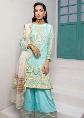 Jaan-e-Adaa by Azal Fashions Embroidered Chiffon Unstitched 3 Piece Suit AF20JA 09 Aqua Marine - Festive Collection