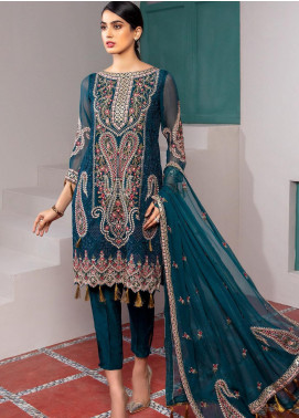 Jaan-e-Adaa by Azal Fashions Embroidered Chiffon Unstitched 3 Piece Suit AF20JA 10 Emerald - Festive Collection