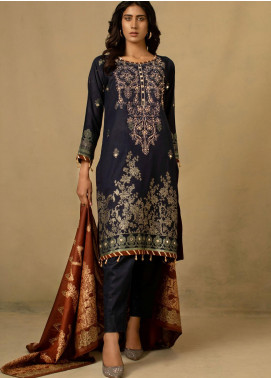 Jahan by AB Textiles Embroidered Jacquard Unstitched 3 Piece Suit AB21JCR 02 Bleu Fonce - Casual Collection