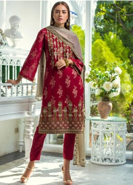 Jaipur by ZS Textiles Embroidered Jacquard Unstitched 3 Piece Suit JZS19J 2 - Luxury Collection