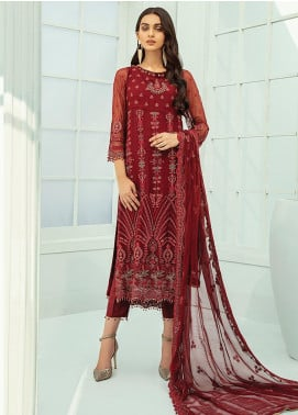 Janaan by Xenia Formals Embroidered Chiffon Unstitched 3 Piece Suit XE20J 05 GUL - Luxury Collection