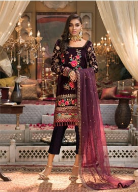 Javeria Zoa Embroidered Velvet Unstitched 3 Piece Suit JVZ19WF 02 - Wedding Collection
