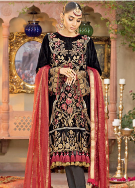 Javeria Zoa Embroidered Velvet Unstitched 3 Piece Suit JVZ19WF 07 - Wedding Collection