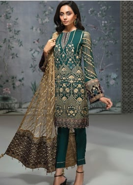 Jazmin Embroidered Chiffon Unstitched 3 Piece Suit JZ19C 02 PINE IVOIRE - Luxury Collection