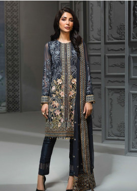 Jazmin Embroidered Chiffon Unstitched 3 Piece Suit JZ19C 05 JARDIN DE LUNE - Luxury Collection