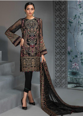 Jazmin Embroidered Chiffon Unstitched 3 Piece Suit JZ19C 07 REINE DE NUIT - Luxury Collection