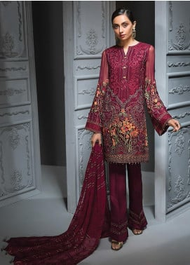 Jazmin Embroidered Chiffon Unstitched 3 Piece Suit JZ19C 09 MARRON ROMANTIQUE - Luxury Collection