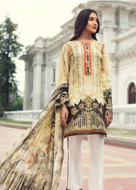 Jazmin Embroidered Lawn Unstitched 3 Piece Suit JIR19L 08 IVY GOLD - Spring / Summer Collection