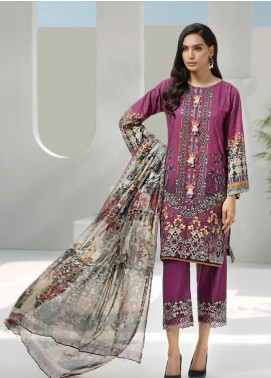 Jazmin Embroidered Lawn Unstitched 3 Piece Suit JIR19-L2 04 GRAPEVINE - Summer Collection