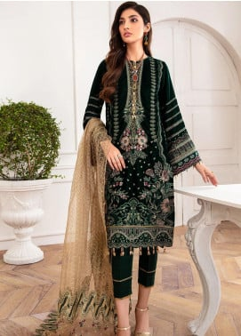 Mahpare by Jazmin Embroidered Velvet Unstitched 3 Piece Suit JZ20M 05 Mala - Luxury Collection