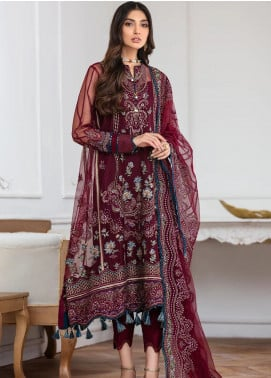 Mahpare by Jazmin Embroidered Net Unstitched 3 Piece Suit JZ20M 10 Soulmaz - Luxury Collection