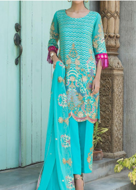 Jazmin by Zohan Textiles Embroidered Chiffon Unstitched 3 Piece Suit ZT20PC 02A - Luxury Collection