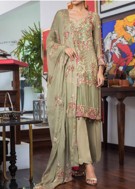 Jazmin by Zohan Textiles Embroidered Chiffon Unstitched 3 Piece Suit ZT20PC 06A - Luxury Collection