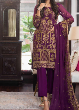 Jazmin by Zohan Textiles Embroidered Chiffon Unstitched 3 Piece Suit ZT20PC 07A - Luxury Collection