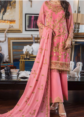 Jazmin by Zohan Textiles Embroidered Chiffon Unstitched 3 Piece Suit ZT20PC 09A - Luxury Collection
