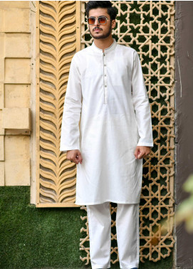 Jharokay Wash N Wear Casual Kameez Shalwar for Men - JR20MW JMKP-05 White