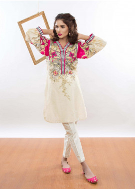 Kaara Embroidered Lawn Stitched Kurtis KR-5006 Off White