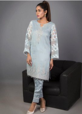Kaara Embroidered Organza Stitched 3 Piece Suit KR530 Grey