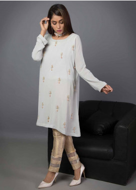 Kaara Embroidered Chiffon Stitched Kurtis KR542 Light Grey
