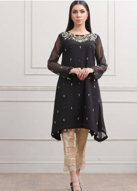 Kaara Formal Chiffon Stitched Kurti KR550 Black