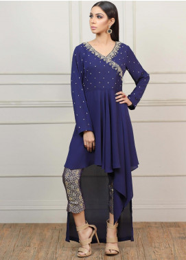 Kaara Embroidered Georgette Stitched Kurtis KR567 Navy Blue