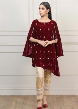 Kaara Embroidered Velvet Stitched Kurtis KR568 Maroon