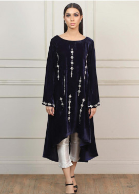 Kaara Embroidered Velvet Stitched Kurtis KR569 Dark Blue