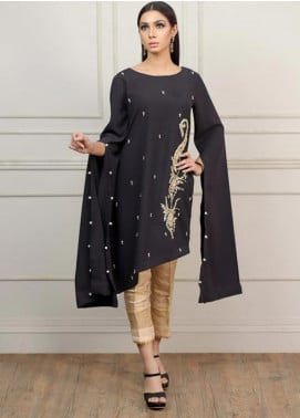 Kaara Embroidered Georgette Stitched Kurtis KR571 Black