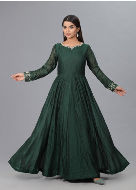 Kaara Formal Chiffon Stitched Frock KR579 Green