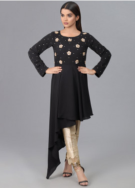 Kaara Formal Chiffon Stitched Kurti KR587 Black