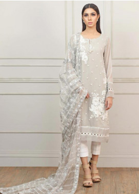 Kaara Embroidered Chiffon Stitched 2 Piece Suit R547 Grey