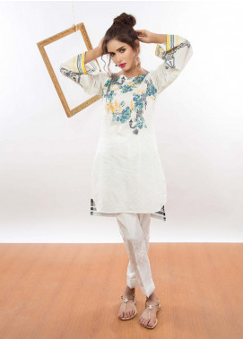 Kaara Embroidered Lawn Stitched Kurtis KR-5008 White