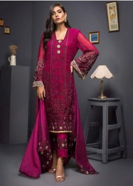 Kalyan By ZS Embroidered Chiffon Unstitched 3 Piece Suit KLY19C 10 - Festive Collection