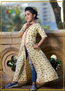 Keshia Cotton Gown Style Kurtis for Girls -  KD-014-Y Amber Regal