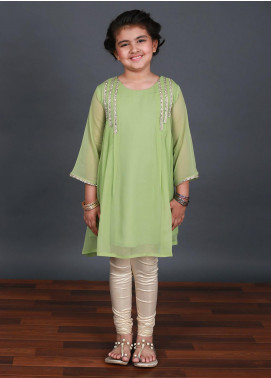 Keshia Chiffon Fancy Style Kurtis for Girls -  KD-002 Green