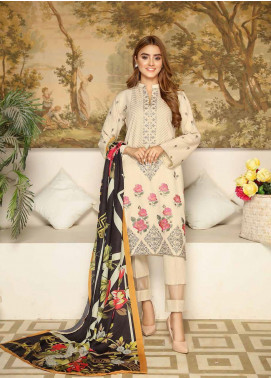 Khaka by Puri Fabrics Embroidered Leather Peach Unstitched 3 Piece Suit KH20P 01 - Winter Collection