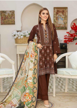 Khaka by Puri Fabrics Embroidered Leather Peach Unstitched 3 Piece Suit KH20P 03 - Winter Collection