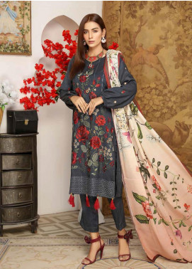 Khaka by Puri Fabrics Embroidered Leather Peach Unstitched 3 Piece Suit KH20P 07 - Winter Collection
