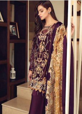 Khaka by Puri Fabrics Embroidered Chiffon Unstitched 3 Piece Suit KH20PF 09 - Luxury Collection