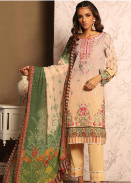 Khas Embroidered Lawn Unstitched 3 Piece Suit KHS20SV KC-5077 Scarlet - Spring / Summer Collection